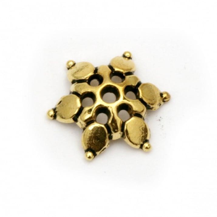 Мънисто метал шапка 12x3 мм дупка 1.5 мм цвят антично злато -20 броя