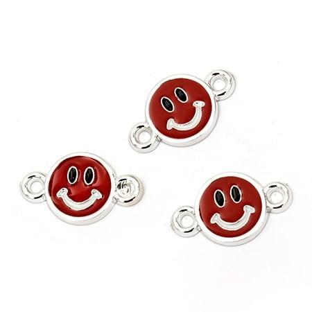 Свързващ елемент CCB усмивка 25.5x15x3 мм дупка 2 мм червена -10 броя