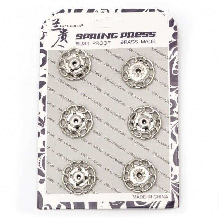 Копче метал тик-так кръг 21x6.5 мм дупка 4 мм цвят сребро -1 брой