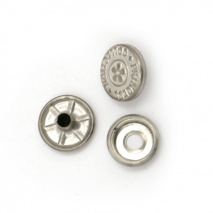 Копче мeтал тик-так кръг 14x4~7 мм дупка 4 мм цвят сребро 4 части -5 комплекта
