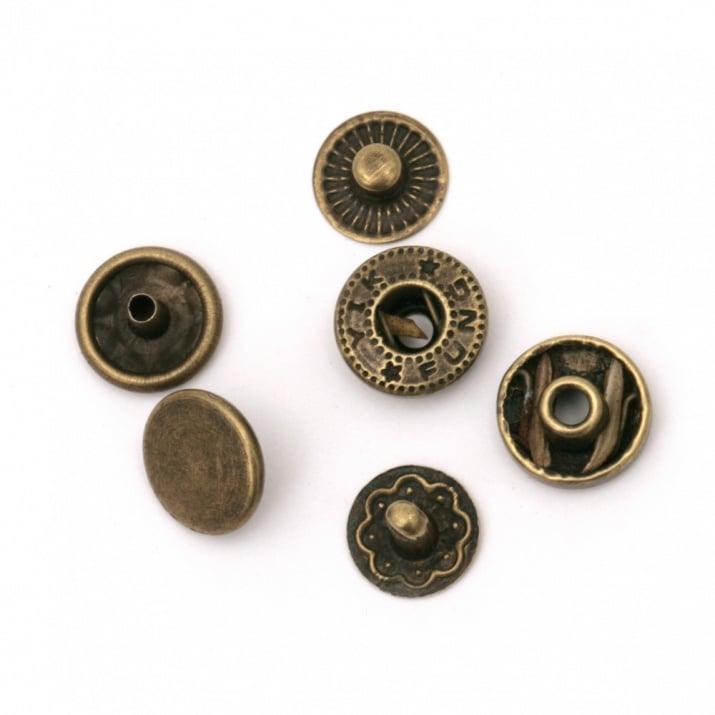 Копче мeтал тик-так кръг 10x5~6 мм дупка 4 мм цвят антик бронз 4 части -5 комплекта
