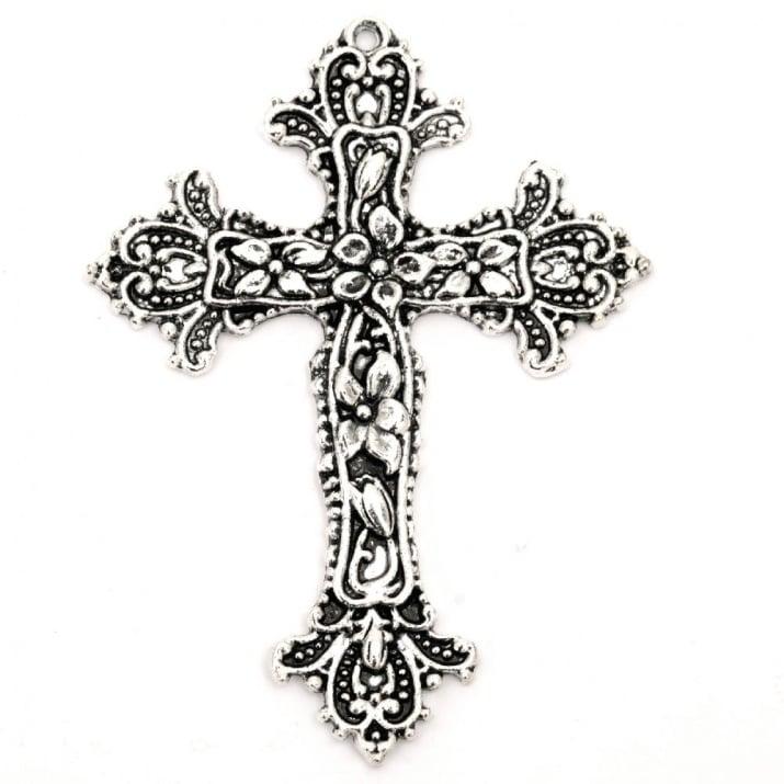 Висулка метална кръст 65x49x3 мм дупка 2 мм цвят старо сребро