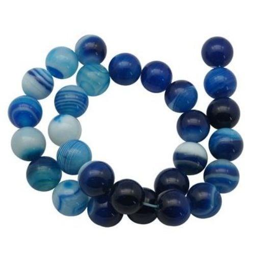 Наниз мъниста полускъпоценен камък АХАТ ИВИЧЕСТ небесно синьо топче 8 мм ~43 броя