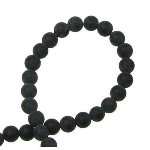 ОНИКС черен топче матирано 4 мм наниз мъниста полускъпоценен камък ~100 броя