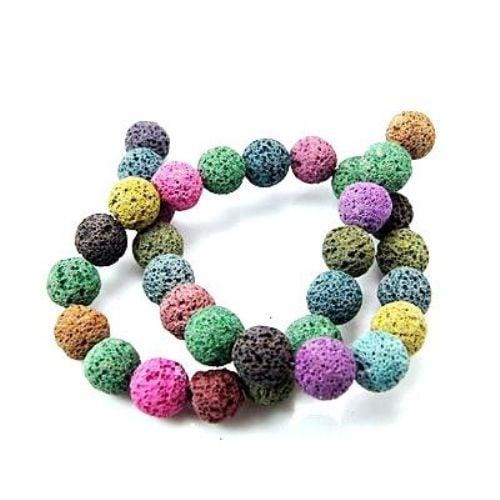 Наниз мъниста полускъпоценен камък ВУЛКАНИЧЕН - ЛАВА многоцветен топче 8 мм ~49 броя цвят МИКС