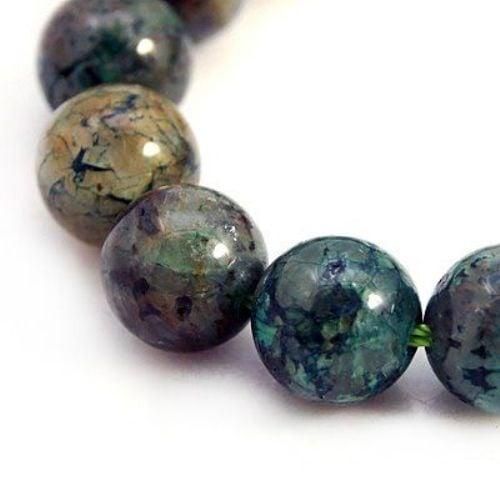 Наниз мъниста полускъпоценен камък ХРИЗОКОЛА топче клас А 10 мм ~39 броя