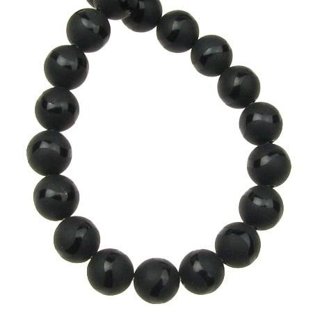 Наниз мъниста полускъпоценен камък ОНИКС черен рисуван матиран топче 8 мм ~48 броя