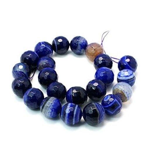 Наниз мъниста полускъпоценен камък АХАТ ивичест син топче фасетирано 8 мм ~50 броя