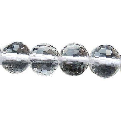 Наниз мъниста полускъпоценен камък ПЛАНИНСКИ КРИСТАЛ топче фасетирано 6 мм ~65 броя