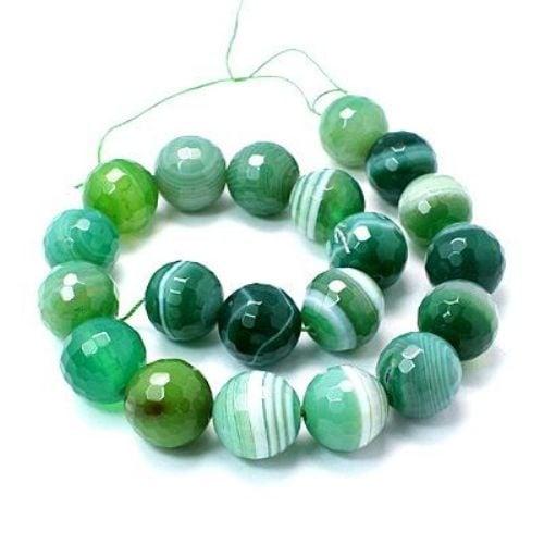 Наниз мъниста полускъпоценен камък АХАТ ивичест зелен топче фасетирано 6 мм ~65 броя