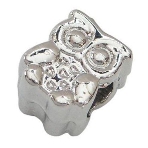 Мънисто АРТ 19x11x8 мм отвор 4.5 мм метал бухал цвят сребро