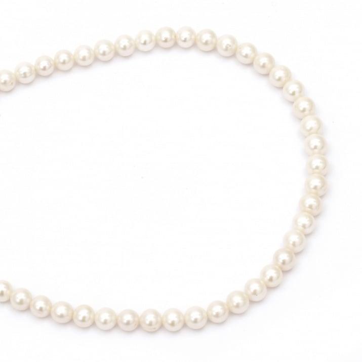 Наниз мъниста естествена перла 9 мм дупка 0.5 мм клас ААА цвят крем ~47 броя