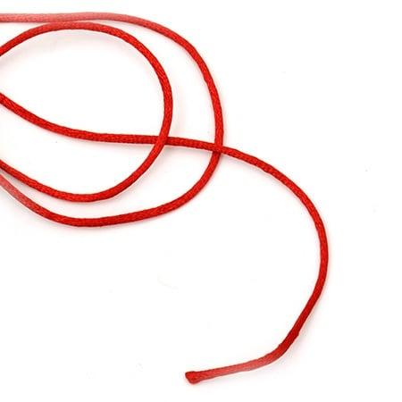 Шнур полиамид лъскав 2 мм червен ~20 метра