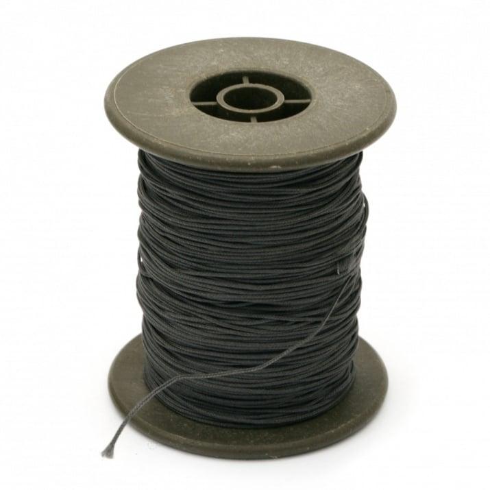 Шнур полиестер с основа корда 0.8 мм сив тъмно ~60 метра