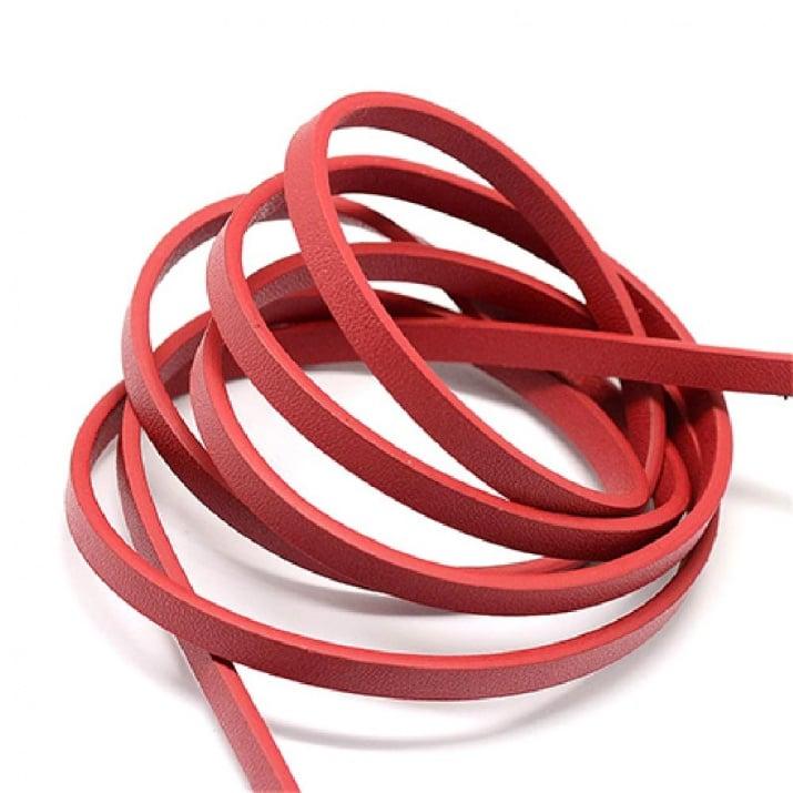 Лента изкуствена кожа 5x2 мм цвят червен - 1.20 метър