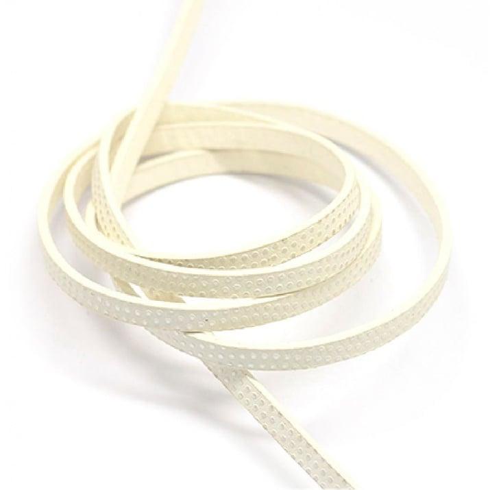 Лента изкуствена кожа 5x2 мм бяла със сребро -1.20 метра