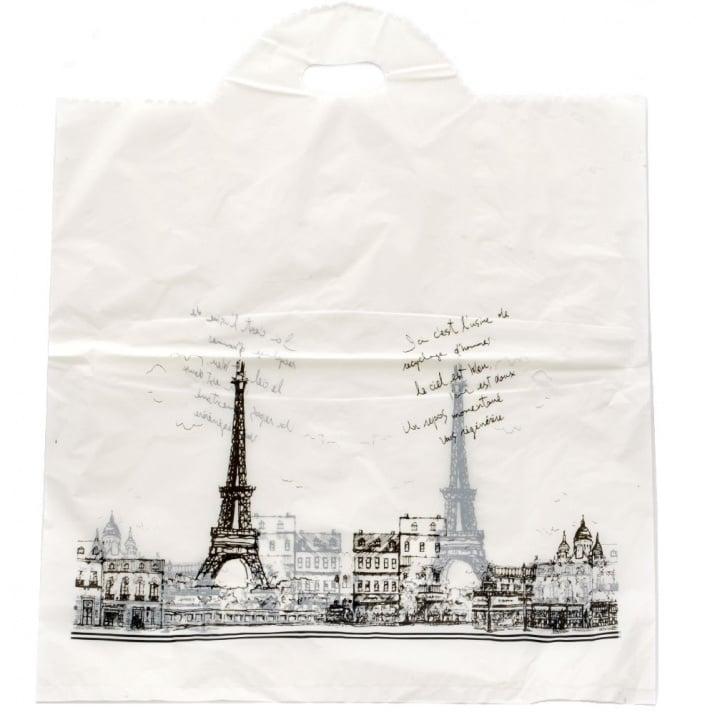 Торбичка от PE материал 53x45 см. бяла Париж