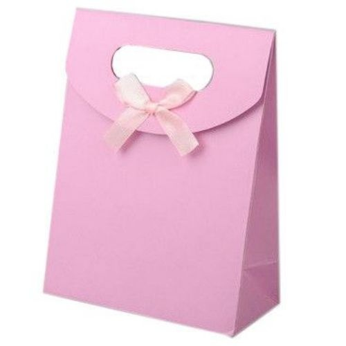 Торбичка за бижута от картон със сатенена панделка 163x123 мм - розова