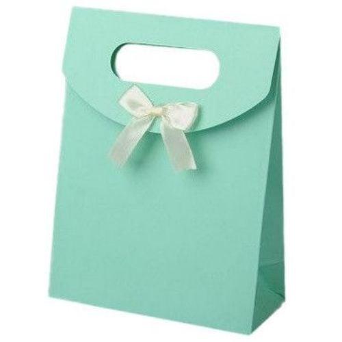 Торбичка за бижута от картон със сатенена панделка 163x123 мм -тюркоаз