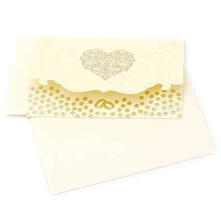 Картичка сърце и цветя 190x125 мм цвят крем с плик щампа