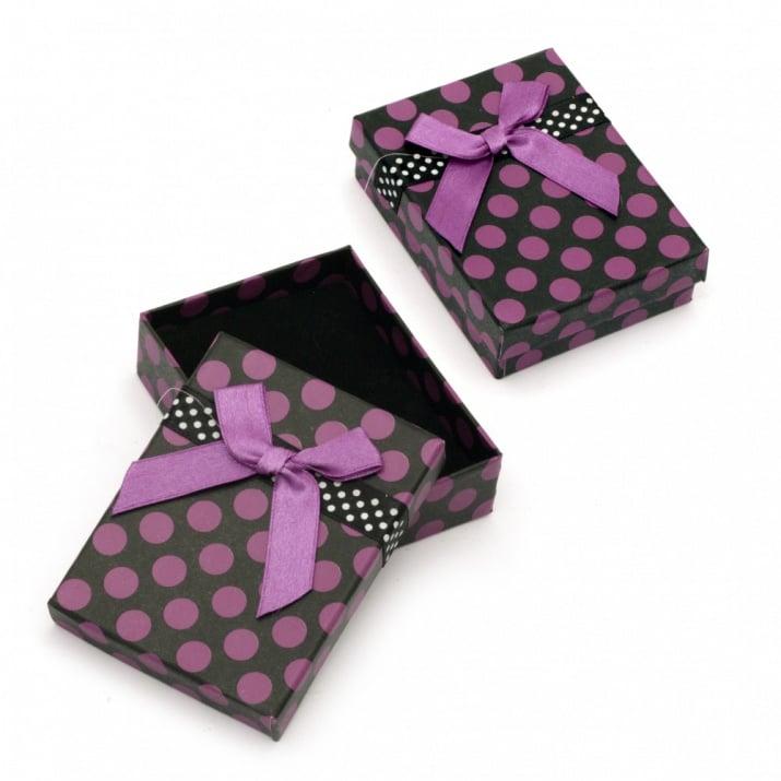 Кутийка за бижута 70x90 мм черно и лилаво