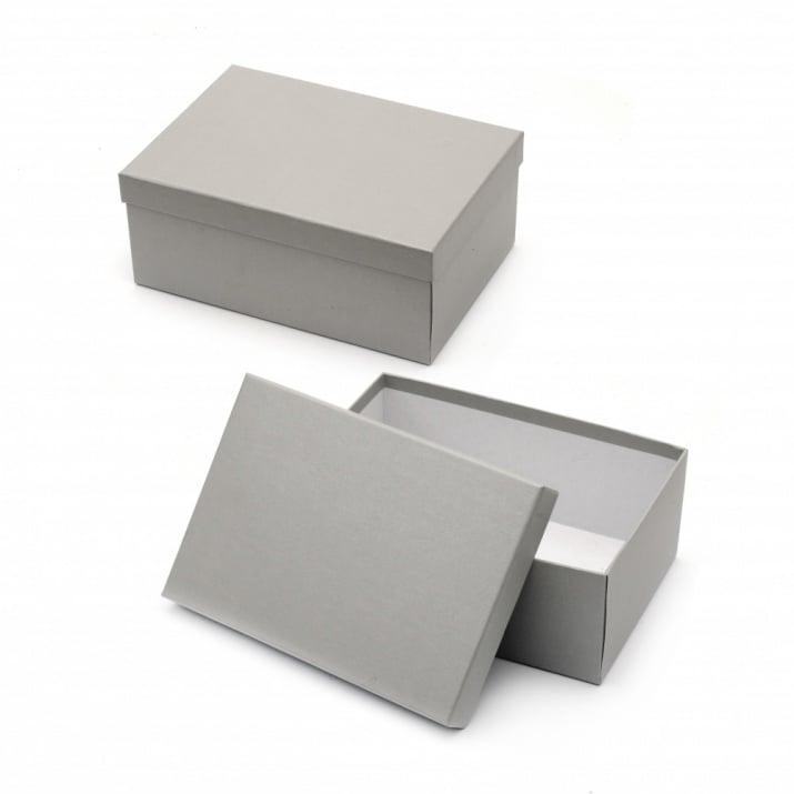 Кутия за подарък правоъгълна 26.5x19x11 см сива