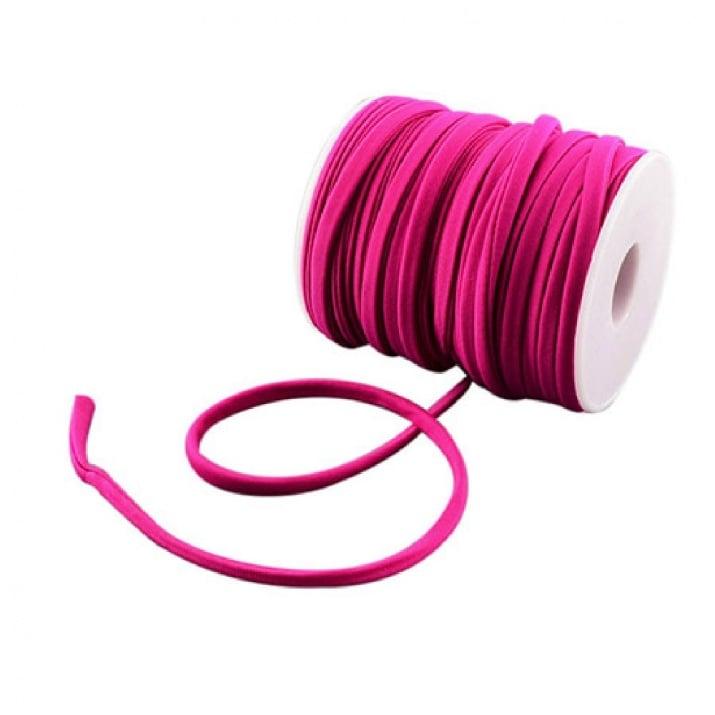 Шнур коприна 5x3 мм Habotai цвят циклама -1 метър