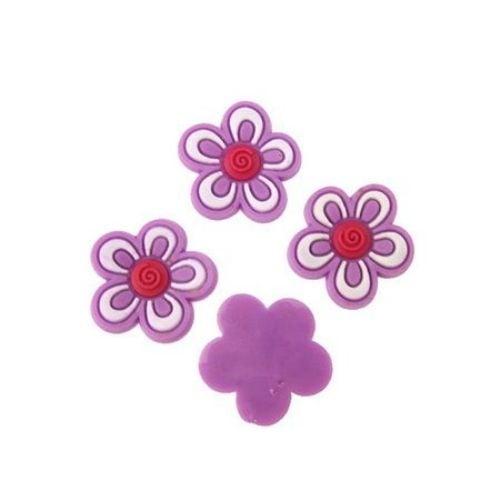 Фигурка гумена 17x3 мм цвете лилаво - 10 броя