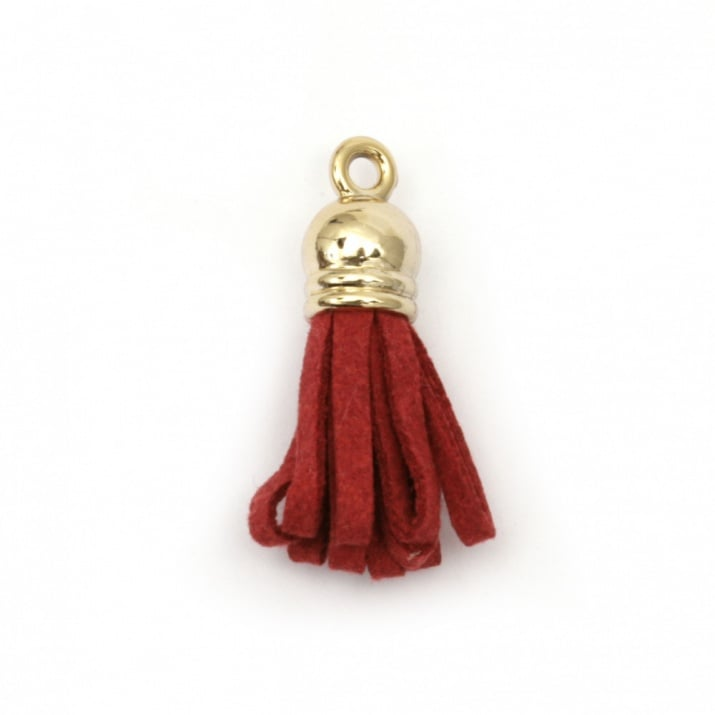 Висулка пискюл велур 29x8 мм с шапка цвят злато дупка 2 мм цвят червен -2 броя