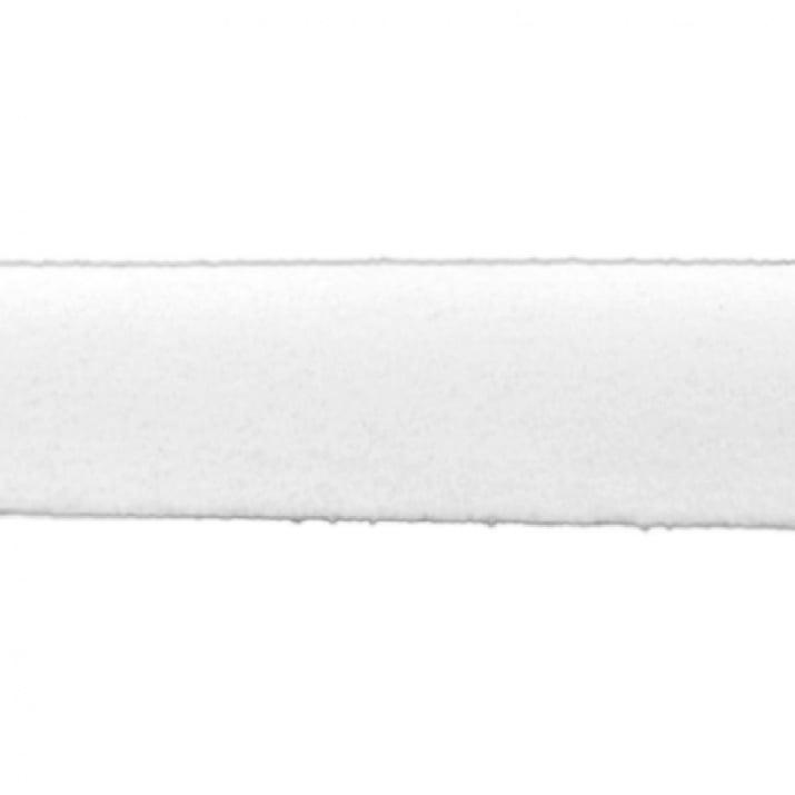 Лента еко велур 20x1.4 мм бял - 1 метър