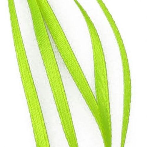 Ширит Сатен 3 мм зелен жълт електрик -10 метра