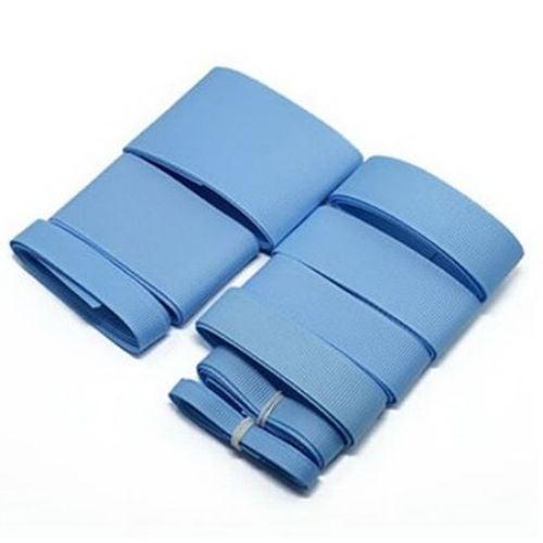 Комплект ленти сатен рипс с ширина от 6 мм до 50 мм -9 размера x 1 метър цвят син