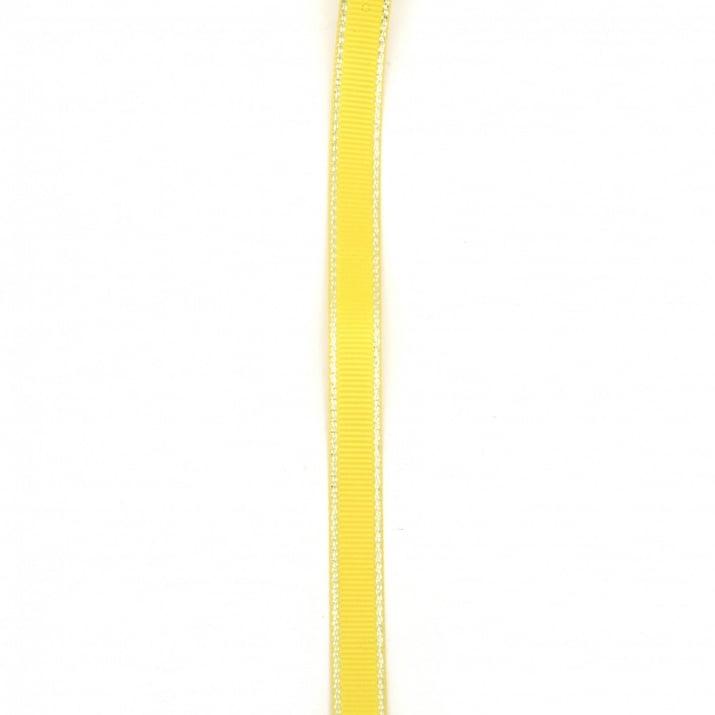 Лента сатен 9 мм рипс жълта тъмна с ламе сребро -5 метра