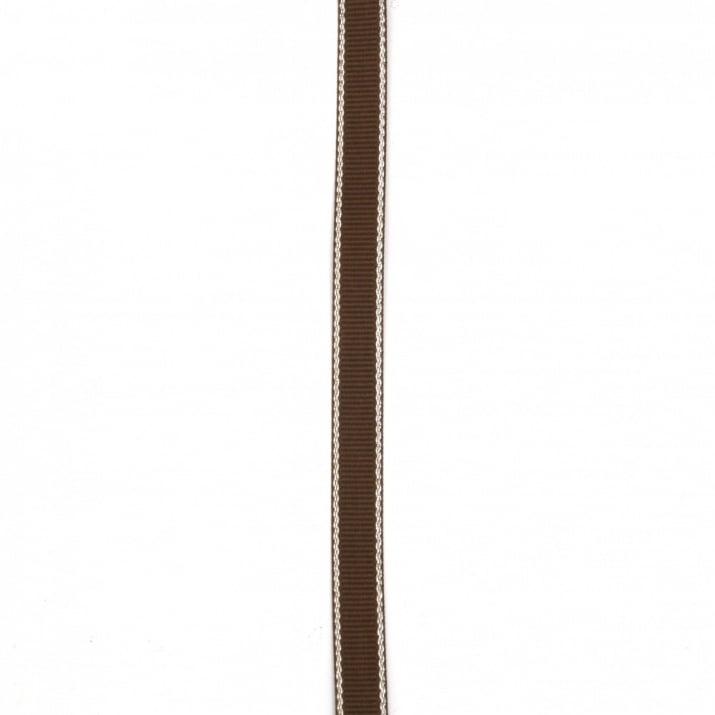 Лента сатен 9 мм рипс кафява тъмна с ламе сребро -5 метра