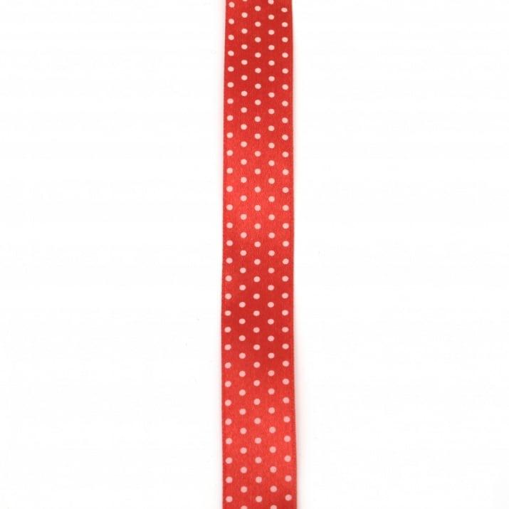 Ширит сатен 18 мм червен с бели точки ~43 метра