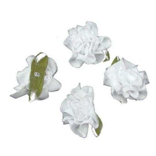 Роза 35 мм сатен с листо бяла -10 броя
