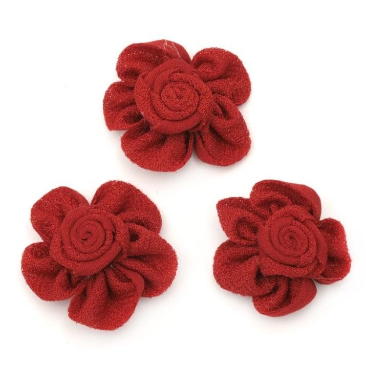 Роза 38 мм текстил червена -5 броя