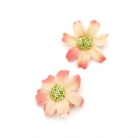 Цвят маргаритка 45 мм с пънче за монтаж розова преливаща - 10 броя
