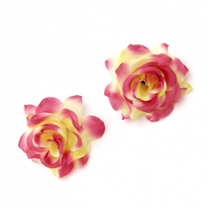 Цвят роза текстил 55 мм с пънче за монтаж жълто лилаво -5 броя