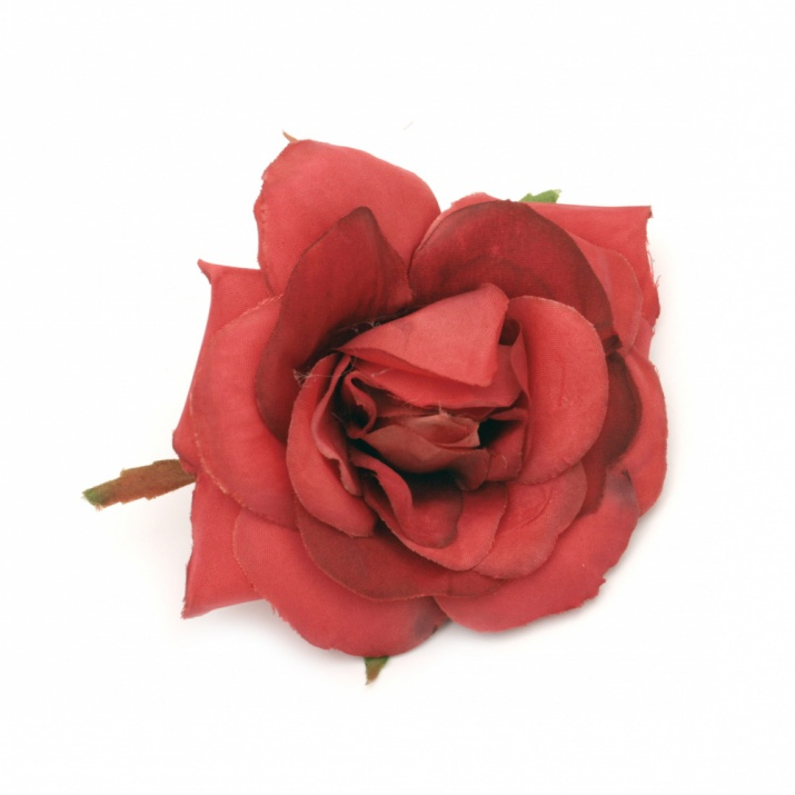 Цвят роза текстил 70 мм с пънче за монтаж червена -2 броя