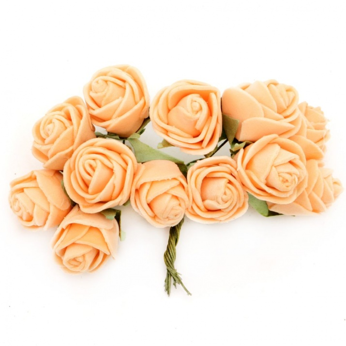 Роза букет 20x90 мм гума и тел оранжева -12 броя
