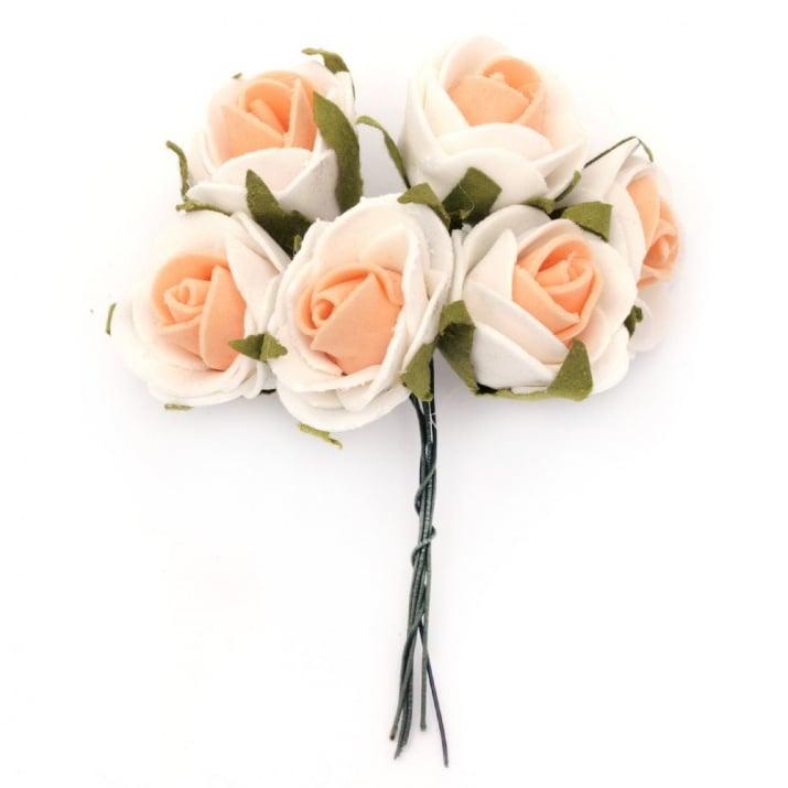 Роза букет 25x90 мм гума листо бяло оранжево -6 броя