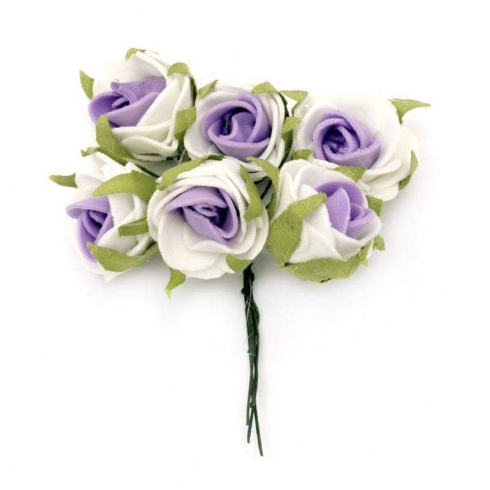 Роза букет 25x90 мм гума листо бяло лилаво -6 броя