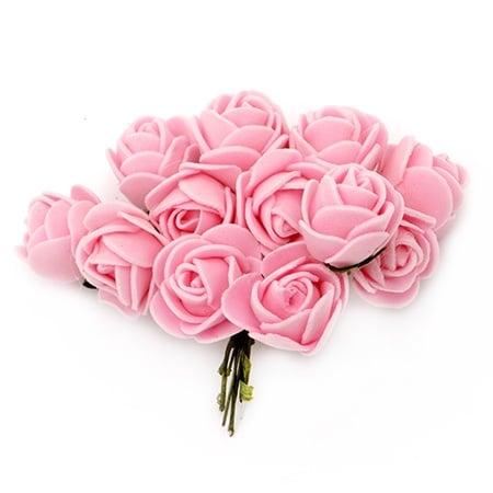 Роза букет 20x85 мм гума и тел розова -12 броя