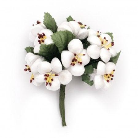 Цвете пролет букет текстил 30х100 мм цвят бял -10 броя