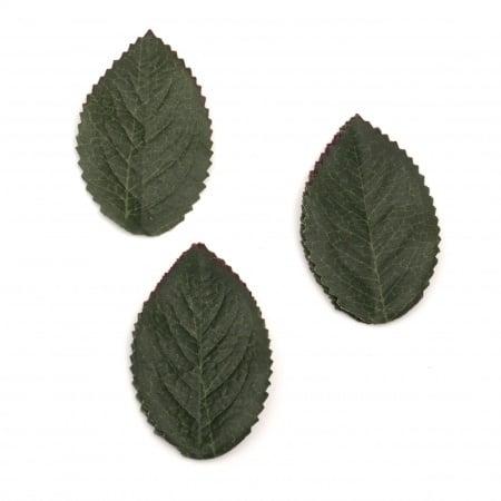Листо текстил 35х60 мм цвят тъмно зелен -10 броя