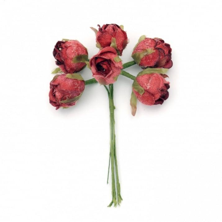 Роза букет текстил 30х130 мм цвят червен -6 броя