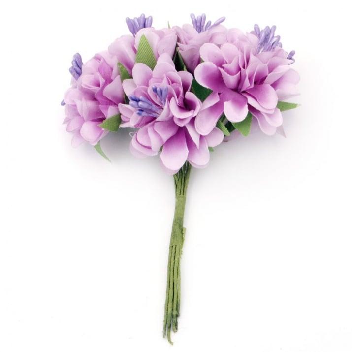 Цвете букет карамфил 35x110 мм тичинка лилаво светло-6 броя