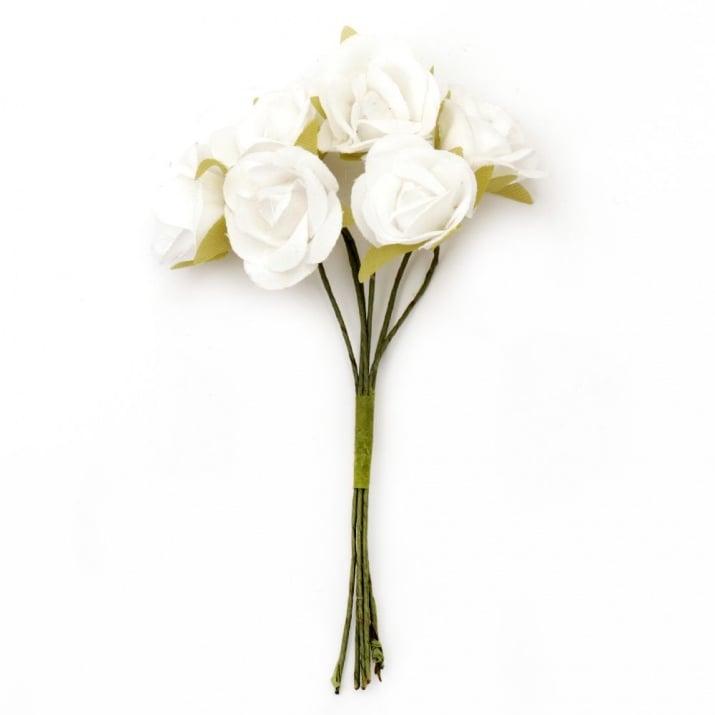Роза букет текстил 22x100 мм бяла -6 броя
