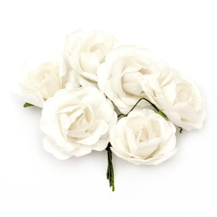 Роза букет хартия и тел 35x80 мм къдрава бяла -6 броя
